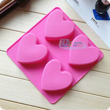 4-Cavity Heart Shaped Silicone Pudding Chocolate Ice Mold Cupcake Baking Mould
