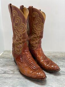 Vintage 1985 Brown TONY LAMA exotic SNAKESKIN Western Boots Men's 10.5 D