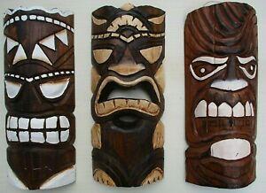 "TIKI MASK WOOD 12"" HAWAIIAN AFRICAN HOME DECOR TRIBAL BAR POLYNESIAN SET / 3"