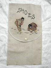 "Vintage 20s Shoe Bag Embroidered Geisha Girls Snap Vgc Cotton 6x12"""