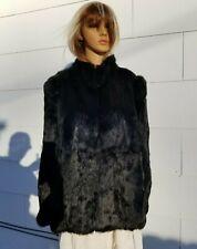 "Medium Large Chest 42"" Rabbit Short Black Fur coat **Many More Furs 14k Jewelry"