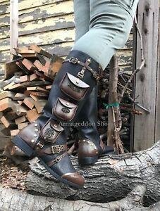 Black Brown Steampunk Burner Airship Pirate Renaissance Fair Knee Boots Womans