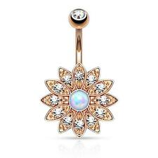 Paved Crystal Flower with Opal Center Navel Belly Button Navel Ring Dangle B300