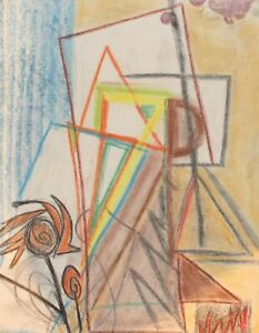 VINTAGE ABSTRACT CUBIST PASTEL PAINTING