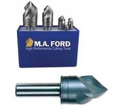 "New listing 5 Pcs. M.A Ford 1/4"",3/8"",1/2&# 034;,5/8"" & 3/4"" x 90 Deg. A/C 3 Flt Countersinks Set"
