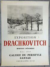 AFFICHE EXPO DRACHKOVITCH Galerie du Peristyle Gaveau 1959