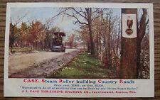 CASE STEAM ROLLER BUILDING COUNTRY ROADS POSTCARDS - J.I. CASE RACINE WI