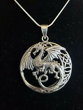 925 Sterling Silver Celtic Moon Dragon Pendant Includes Italian Snake Chain