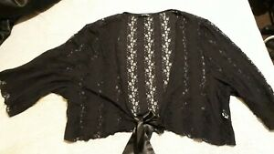 VITAL Ladies Black Lacy Shrug/Cardi 3/4 Sleeves Size 26/28