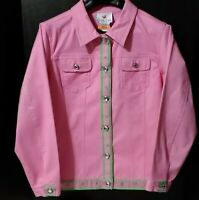 Quacker Factory Women Size M Light Jacket With Stretch~Pink With Green Accents