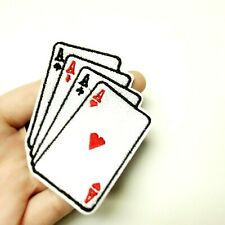 Aces in Hand, Four Suits Patch Iron-On/Sew-On Embroidered, Poker Cards Casino