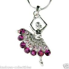 Purple w Swarovski Crystal ~BALLERINA Ballet Dance Dancer Pendant Chain Necklace