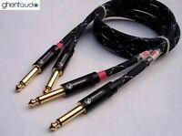 D07 (0.3m 1ft) --- Pair 6.35mm TS Mono (Male to Male) Hifi 4N-OFC Audio Cables