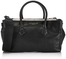 Liebeskind Berlin Georgia Foil Leather Bag Satchel Black/Metallic Grey