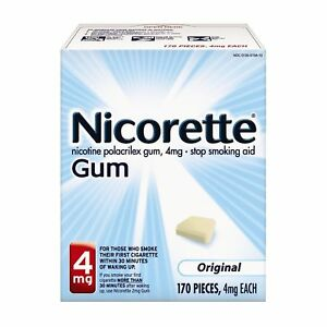 Nicorette Nicotine Polacrilex Gum 4mg 170 Pcs ORIGINAL SEALED NEW EX05/23