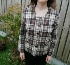 LADIES  CROPPED CHECK JACKET, SIZE 12, WOOL MIX IN IMMACULATE CONDITION