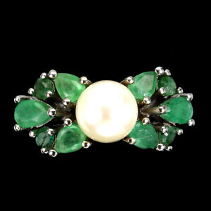 Unheated Pear Emerald 5x3mm Creamy White Pearl 925 Sterling Silver Ring Size 8