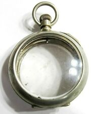 Salesman Pocket Watch Case W/ Crystals (D11) New listing 18S - Double Hinged - Lc -