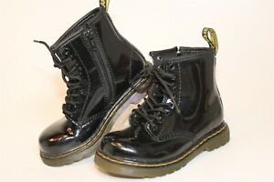 Dr. Martens 1460 T Toddlers Girls 10 27 Black Patent Leather Combat Chukka Boots
