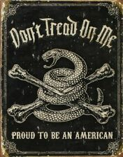Don't Tread On Me Proud To Be An American Metal Tin Sign DTOM Gift USA New