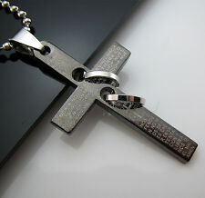 New Gift Unisex's Men's Stainless Steel Pendant Bible Cross Ring Necklace Chain