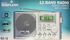 Sunflash Portable Digital Tuner Display 12 Band AM/FM/SW 1-10 Alarm Clock Radio
