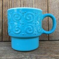 Hazel Atlas Milk Glass Scroll & Dots Embossed Mug Fired-On Turquoise Paint Vntg