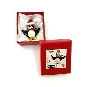 Pier 1Imports Jingles Penguin Art Glass Figurine 2.5'' Christmas Stocking Gift