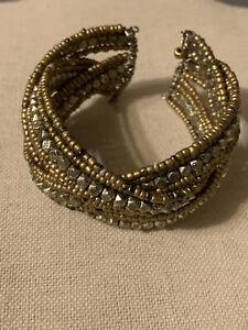 Vintage Seed Beaded Wrap Wire Cuff Bracelet One Size