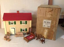 VINTAGE SCHOENHUT 1920'S-30'S DOLLHOUSE WITH FURNITURE AND ORIGINAL BOX