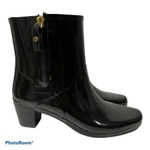 NEW Kate Spade New York Penny Booties Black Size 10 Rubber Ankle Rain Boots
