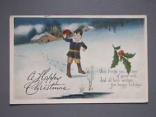 R&L Postcard: Children's Christmas, Winter Holly Snow Scene, 1921 USA