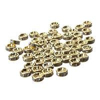50pcs 8MM Gold Rhinestone Rondelle Round Bead Spacer HOT J2U8
