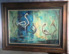 Vintage Modern Abstract WINTER CRANES Chinese Oil Painting Yutao Chen 1968