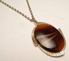VINTAGE SARAH COVENTRY STRIPED BROWN GOLD TONE LARGE OVAL PENDANT CHARM