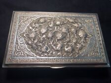 Antique Morocco Islamic Cigarette Tobacco Case / Box Sterling Silver