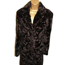Karen Millen Vintage Look Dark Brown Faux Fur Pile Winter Coat Jacket 12 UK, 40