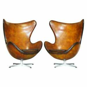 PAIR OF TOTALLY RESTORED ORIGINAL 1963 FULLY STAMPED FRITZ HANSEN EGG CHAIRS