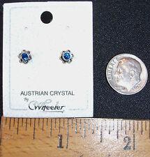TINY STERLING SILVER FLOWER PIERCED STUD EARRINGS W/SAPPHIRE BLUE CRYSTALS