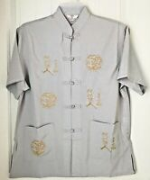 Mens Embroidery Chinese Button Casual Shirt Silk Short Sleeve Stand Collar