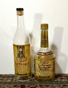 Old Rip Van Winkle Pappy Whiskey 10 Yr. Empty Squat Bottle AND 10 Year - LOT