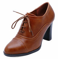 LADIES BROWN LACE-UP BROGUE ANKLE BOOTS SMART WORK COMFY COURT SHOES SIZES 3-8