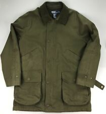 Ralph Lauren Polo Green Wool Lined Zip Snap Trench Jacket Coat Men's MEDIUM