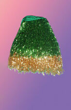 "GOLD & GREEN BEADED BELLY DANCE FRINGE 40"" x 4"""