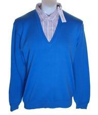 Bnwt Authentic Men's Full Circle V Neck Jumper Sweater Shirt Xlarge Blue Panzer