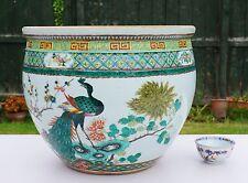 V-LARGE Antique 19th C Chinese Porcelain Famille Verte Fish Bowl Vase Jardinere