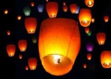 50Pcs Purple Paper Chinese Lanterns Sky Fly Candle Lamp for Wish Party Wedding
