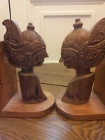 Antique Rare Indonesian Carved Wooden Bookends nice !!