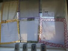 Vintage handkerchief curtain handmade and hand sewn. Unique, exquisite