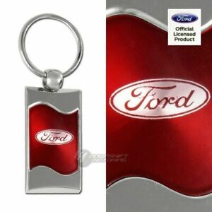 Ford Logo Red Rectangular Authentic Chrome Key Fob Keyring Keychain Lanyard
